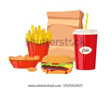 Group Of Fast Food Products. Fast food hamburger dinner and restaurant, tasty set fast food many meal and unhealthy fast food classic nutrition in flat style.
