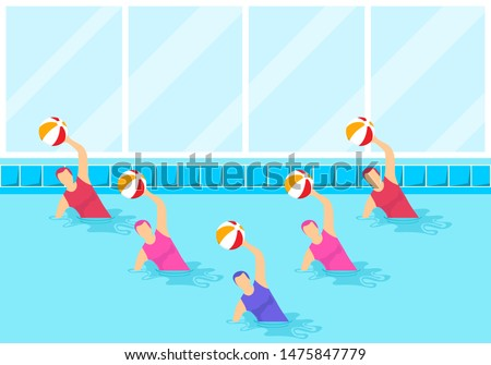 Group of female athletes doing water aerobics with a ball. Group aqua aerobics in swimming pool. Synchronized swimming and water aerobics. Vector illustration.