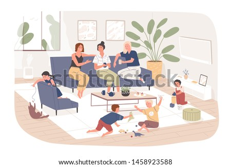 Group of female friends sit on comfy sofa, drink tea and chatter while their children play. Young mothers spending time together at home. Friendly meeting. Flat cartoon colorful vector illustration.