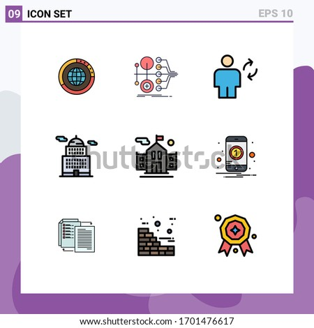 Group of 9 Filledline Flat Colors Signs and Symbols for administration; sync; finance; human; avatar Editable Vector Design Elements