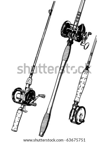 clipart fishing pole. Of Fishing Rods - Retro