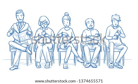 Group of five people sitting in a full waiting room. No chairs are empty. Hand drawn line art cartoon vector illustration.