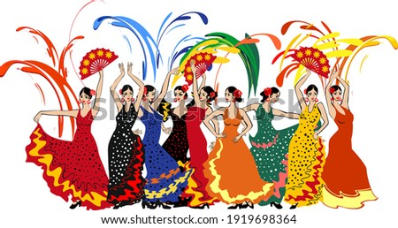Group of flamenco dancers in colorful traditional spanish dresses and colorful fireworks isolated on white background Foto stock ©