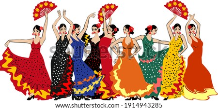 Group of flamenco dancers in colorful traditional spanish dresses isolated on white background Foto stock ©