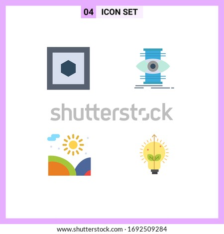 group of 4 flat icons signs and