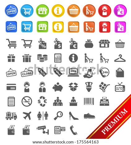 Group of Flat Shopping Icons an Buttons.