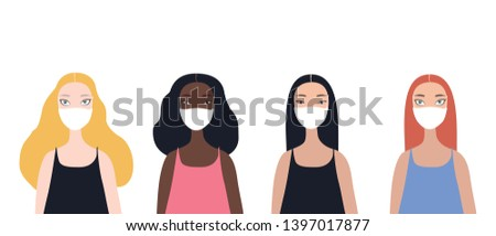 Group of four beautiful stylish cartoon woman characters african-american ethnicity caucasian ethnicity asian ethnicity and mix raced wearing medical face masks isolated on white background