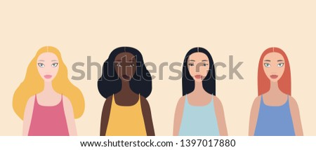 Group of four beautiful stylish cartoon woman characters african-american ethnicity caucasian ethnicity asian ethnicity and mix raced isolated on pink background
