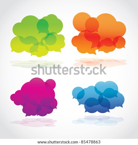 Group of four lava speech clouds, vector