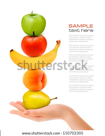 group of fresh fruit with hand