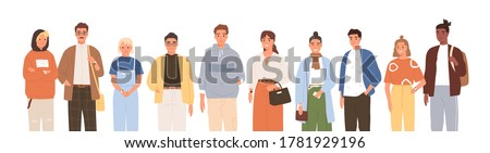 Group of friendly diverse people standing together vector flat illustration. Men and women of various ages posing isolated on white. Happy old and young generations characters. Social diversity