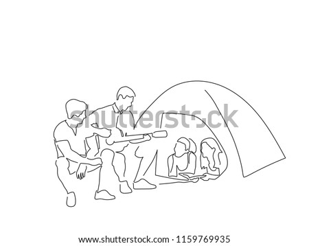 Group of friends having fun camping line drawing, vector illustration design. People collection.