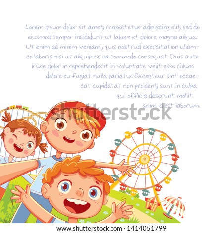 Group of friends taking a selfie and laughing. Children make selfie at an amusement park. Ferris wheel on the background. Template for advertising brochure. Kids background for your design