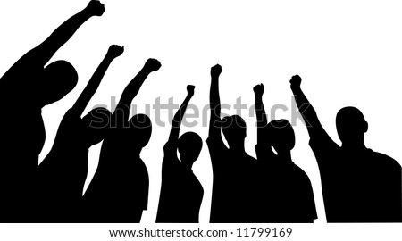 Group of friends upwards hands vector