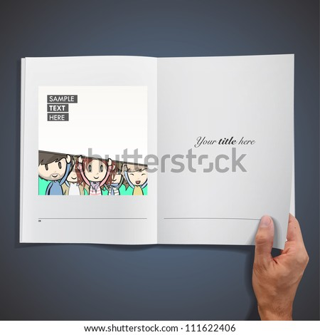 Group of friends with a blank cardboard inside a book. Vector design.