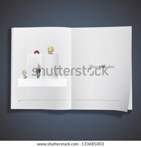 Group of friends writing in an open book. Vector design. - stock vector