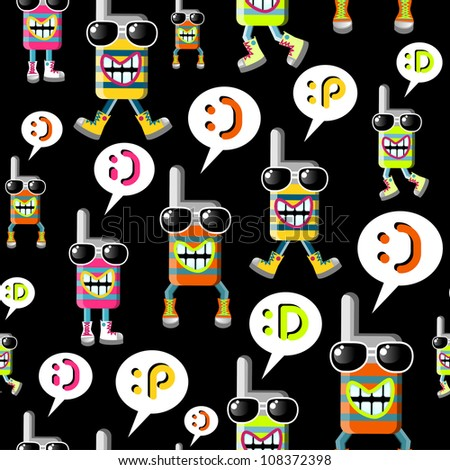 Group of funky MOBILE PHONES seamless pattern over black background. Vector file layered for easy manipulation and custom coloring.