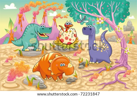 Group of funny dinosaurs in a prehistoric landscape Cartoon and vector isolated characters on background