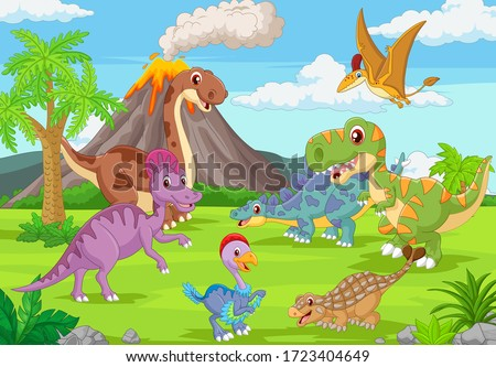 group of funny dinosaurs in the