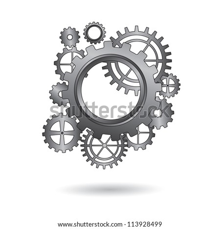 group of gears united over white background vector illustration