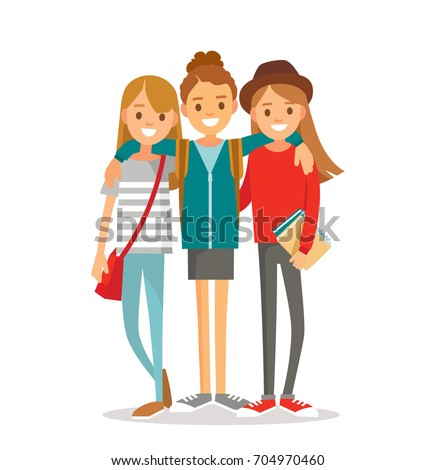 group of girls hugging