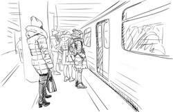group of girls in warm winter clothes, coats and hats are standing on metro platform waiting for train open doors. City sketch vector drawing, Hand drawn illustration black on white