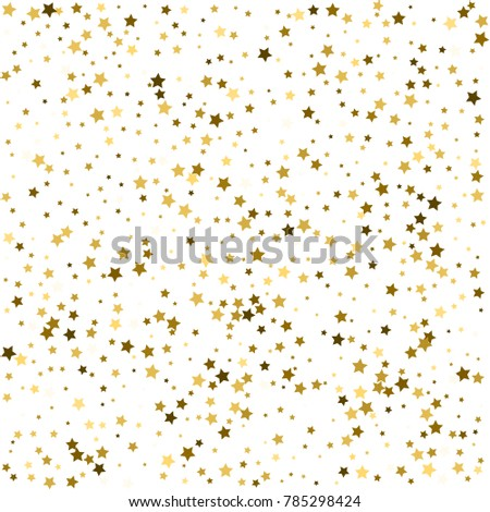 Group of gold star decoration isolated on white background object design on top view
