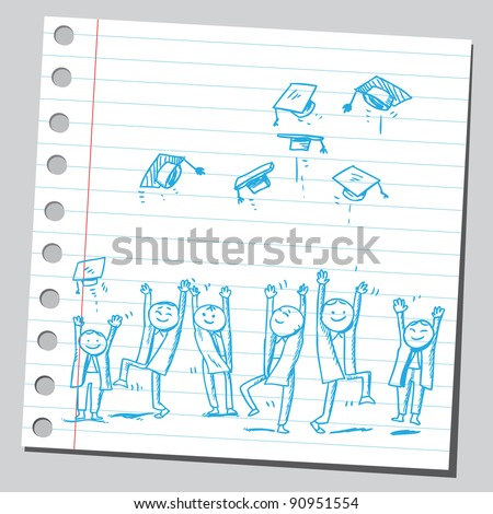 Group of graduates tossing caps