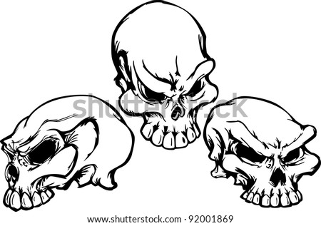 Group of 3 Graphic Vector Skull Images