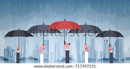 Group Of Hands Holding Umbrellas Over Storm In City Huge Rain Background Hurricane Tornado In Town Natural Disaster Concept Vector Illustration