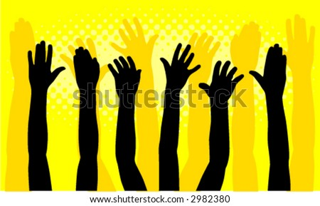 Group of hands raised - color can be changed