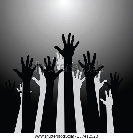 Group of hands up (Vector illustration)