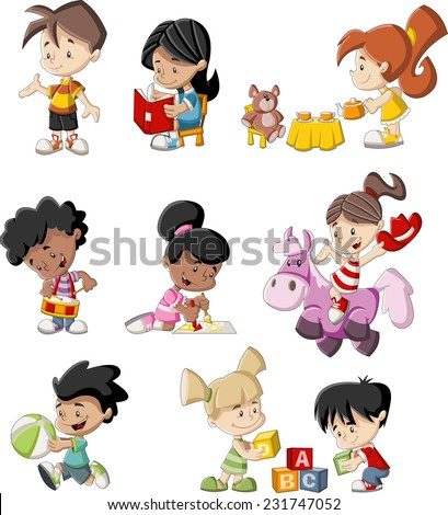 group of happy cartoon children
