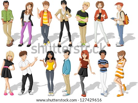 Group of happy cartoon young people