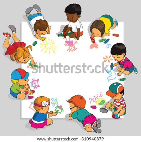 Group of happy children draw on a large sheet of paper.