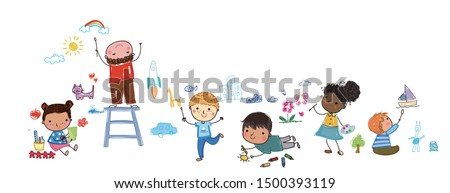 group of happy children drawing