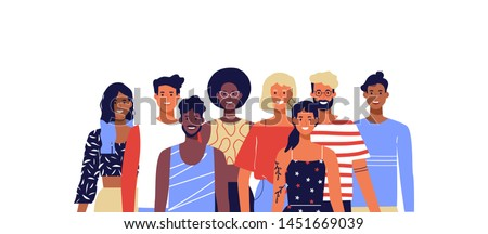 Group of happy diverse people team. Young women and men smiling on isolated white background. Millennial generation, college students or business team concept.