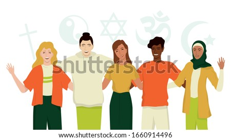 Group of happy friend of different religion. Islam, Judaism, Buddhism, Christianity, Hindu, Taoist. Religion diversity and Equal rights for everybody. Isolated vector illustration in cartoon style. Сток-фото ©