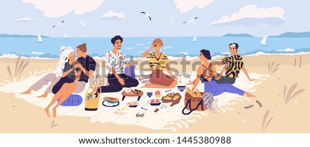 Group of happy friends at picnic on seashore. Young smiling men and women eating food on sandy beach. Cute funny people having lunch together on sea shore. Flat cartoon colorful vector illustration.