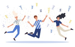 Group of happy jumping or dancing young people. Concept of celebration of great teamwork. Vector illustration of male and female characters having corporate party