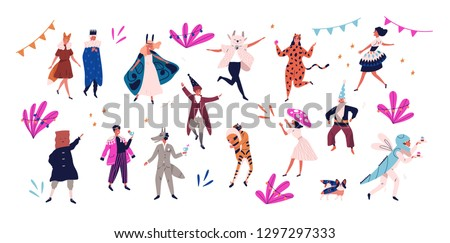 Group of happy men and women dressed in festive costumes for masquerade, carnival, party, holiday celebration isolated on white background. Colorful vector illustration in flat cartoon style.