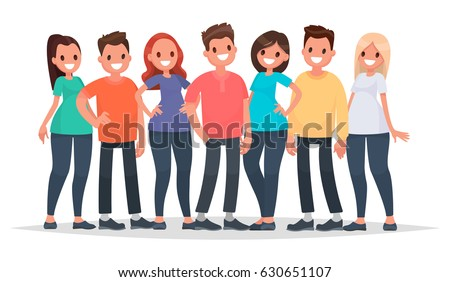 Group of happy people in casual clothes on a white background. Vector illustration in a flat style