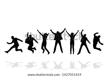 group of happy people jumping