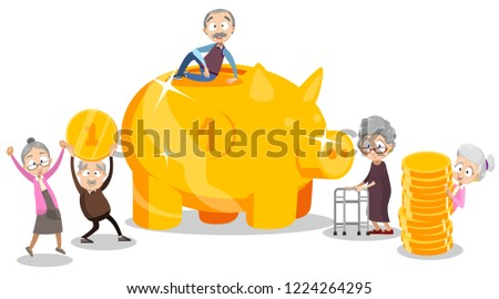 Group of happy retired people with big gold piggy bank. Retirement savings and investment money. Wealth and financial success in old age advertisement. Pension plan and banking vector illustration.