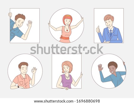 Group of happy smiling people showing thumbs up, ok sign, waving hello. Young women and men vector cartoon outline illustration. Friends, company staff, colleagues, business people characters.