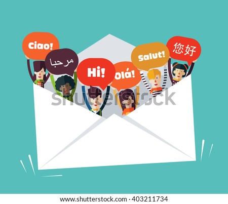 Group of happy smiling young people with speech bubbles in different languages in a big envelope. Male and female faces avatars design style. Communication, teamwork  and connection vector concept