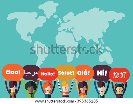 Group of happy smiling young people with speech bubbles in different languages. Male and female faces avatars in modern design style. Communication, teamwork, assistance and connection vector concept Foto d'archivio ©
