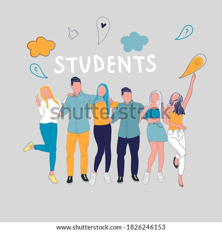 Group of happy students on color background. People with doodles of student life. Stock photo ©