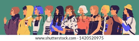 Group of happy teenagers, students, pupils or millennials. Portrait of stylish smiling teenage boys and girls standing in row or line. Young generation. Flat cartoon colorful vector illustration.