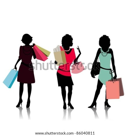 stock vector : group of happy young adult women out of shopping with colored ...